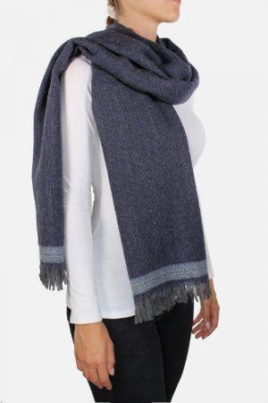 Sciarpa alpaca lana merinos ELETTRA Blu con Lurex