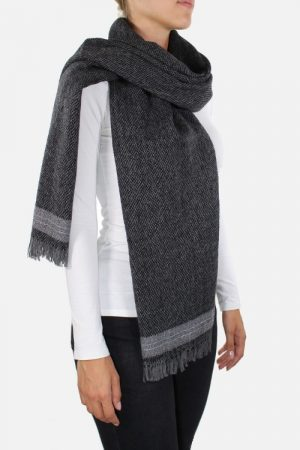 Sciarpa in alpaca Elettra Dark Grey Lurex