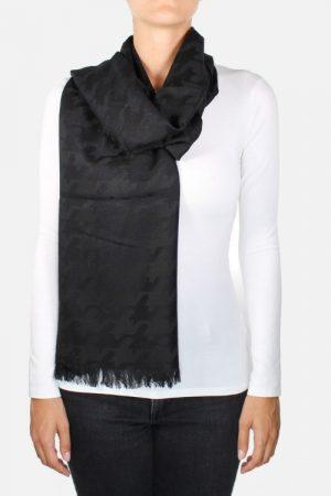 Sciarpa nera con jacquard pied de poule Palmyra Black
