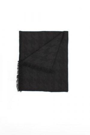 Sciarpa nera donna con jacquard pied de poule Palmyra Black