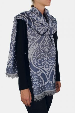 Stola azzurra in lana merinos modal Amleto lurex